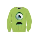 Funny Cartoon Figure Mr.Q Eye 3D Printed Long Sleeve Round Neck Green Pullover Sweatshirts