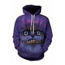 Popular Fashion Cheshire Cat 3D Printed Purple Long Sleeve Casual Loose Drawstring Pullover Hoodie