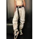 Womens Hot Fashion High Waist Belt Reflective Panelled Plain Nightclub Harem Pants