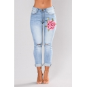 Womens Fashion High Waist Floral Embroidery Print Busted Knees Ankle-Cuff Light Wash Skinny Jeans