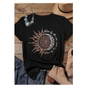 Summer Trendy Letter Sun Flower Printed Short Sleeve Leisure T-Shirt