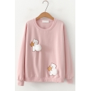 Cartoon Teddy Bear Pompom Embellished Round Neck Long Sleeve Pullover Sweatshirt