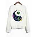 Alien Tai Chi Pattern Printed Round Neck Long Sleeve Sweatshirt