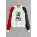 Lovely Cartoon Avocado Printed Color Block Long Sleeve Fitted Hoodie
