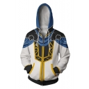 Popular Trendy Fire Comic Cosplay Costume Yellow and White Zip Up Hoodie
