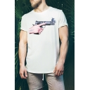 Cool Special Mens Short Sleeve Round Neck GUN Hand Printed Fashion Basic T-Shirt