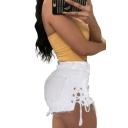 Summer Stylish Plain Ripped Raw Hem Lace Up Side Cutout Washed Hot Pants