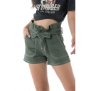 Hot Trendy Green Paperbag Waist Bow Tie Casual Loose Holiday Denim Shorts