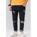 Men's New Fashion Black Plain Cool Damage Ripped Jeans