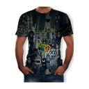 Summer Hot Sale Short Sleeve Round Neck Cartoon Printed Vintage Mens T Shirt