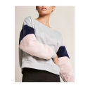 Womens Trendy Round Neck Colorblock Patch Fleece Sleeve Pullover Sweatshirt