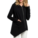 Hot Popular Plain Long Sleeve Zip Front Asymmetric Hem Hoodie with Pocket