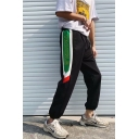 Guys Street Trendy Colorblock Letter TROUBLE Printed Black Drawstring Track Pants