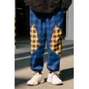 Men's New Fashion Colorblock Plaid Letter Printed Loose Fit Trendy Drawstring Track Pants