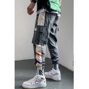 Men's Popular Fashion Contrast Stripe Side Flap Pocket Elastic Cuffs Casual Cargo Pants with Side Pockets