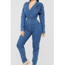 Womens Lapel Collar Long Sleeve Gather Waist Washed Flap Pocket Denim Jumpsuits