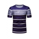 Stripe Printed Short Sleeve Round Neck Fitted Leisure Mens T Shirt