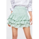 Sweet Cute Green High Waist Polka Dot Printed Layer Ruffle Hem Fitted Mini A-Line Skirt
