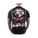 Mens Stylish Black Short Sleeve Round Neck Letter Animal Printed Quick Dry Personalized Sport T-Shirt