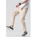 New Fashion Simple Plain Drawstring Waist Elastic Cuffs Men's Linen Casual Pants