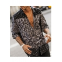 Mens Stylish Long Sleeve Button Front Colorblock Patch Abstract Print Unique Shirt