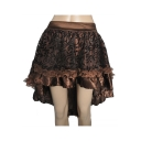 Womens Vintage Leaf Printed Lace Trim Mini Asymmetrical Ruffled Skirt
