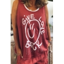 GIVE LOVE BACK Letter Printed Sleeveless Open Back Fake Two Piece Tank Tee
