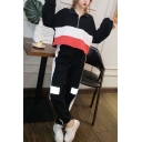 Womens Trendy Color Block Half-Zip Sweatshirt with Joggers Pants Casual Loose Two-Piece Set