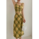 Womens Summer New Trendy Check Pattern Button Crop Cami Top with Midi Wrap Skirt Two-Piece Set