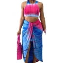 Fashion Light Blue Tie Dye Crop Tank Top with Maxi Twist Skirt Two-Piece Set