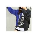 Keep Looking Letter Back Trendy Two-Tone Colorblock Stand Collar Long Sleeve Zip Up Baseball Jacket