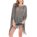 Womens Trendy Grey Tassel Hem Batwing Sleeve Cover Up Poncho Knitwear
