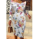 Womens Vintage Floral Pattern Off Shoulder Long Sleeve Midi Bodycon Dress