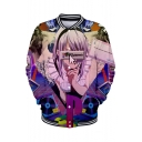 Trendy Comic Girl 3D Figure Printed Stand Collar Long Sleeve Button Down Baseball Jacket