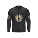 Retro Chinese Style Long Sleeves Dragon Embroidery Disc Buckle Stand Collar Baseball Jacket for Men