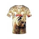 Summer Funny 3D Bear Print Short Sleeve Round Neck Relaxed Khaki T-Shirt for Men