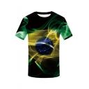 Summer Hot Sale Funny 3D Planet Print Short Sleeve Round Neck Green T-Shirt For Men