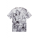 Mens New Trendy Short Sleeve Round Neck Ahegao Comic Printed Black And White T Shirt
