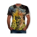 Guys Hot Fashion Cool Skull Print Round Neck Short Sleeve T-Shirt