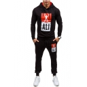 Men's New Fashion Colorblock Letter ALI Figure Printed Long Sleeve Drawstring Hoodie Sports Sweatpants Casual Two-Piece Set