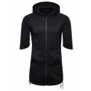 Men's New Fashion Simple Plain Crisscross Side Shorts Sleeve Longline Zip Up Hoodie