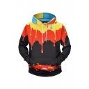 New Fashion Melted Paint 3D Printed Black Long Sleeve Pullover Drawstring Hoodie