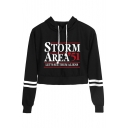 Fashion Letter Storm Area Stripe Long Sleeve Crop Sport Hoodie