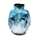 Hot Popular Letter WINTER COMING Wolf Printed Long Sleeve Drawstring Hooded Blue Casual Loose Hoodie
