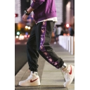 Guys Fashion Cartoon Pig Printed Colorblock Patched Side Loose Fit Track Pants
