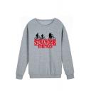 New Trendy Figure Printed Round Neck Long Sleeve Pullover Sweatshirt