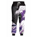 New Stylish Wave 3D Printed Drawstring Waist Black and Purple Loose Fit Casual Sports Sweatpants