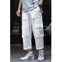 Mens Summer New Fashion Letter Patch Loose Fit Multi-pocket Straight Cargo Pants