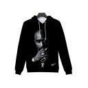 Black Cool Classic Rapper Portrait 3D Printed Sport Loose Hoodie