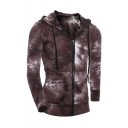 Men's New Fashion Ombre Color Long Sleeve Drawstring Hooded Slim Fit Casual Sports Zip Up Hoodie